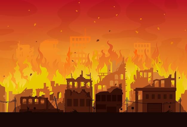 Ciudad en llamas, casas y edificios incendiados destruidos