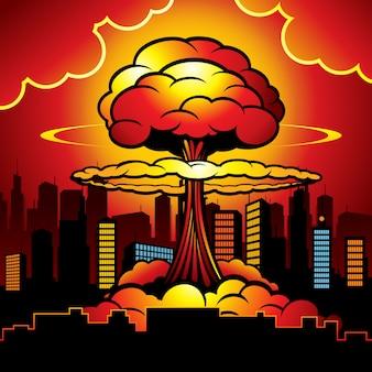 Ciudad en llamas con explosión nuclear de bomba atómica.