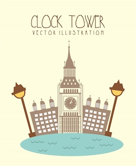 Ciudad de londres con big ben y río ilustración vectorial