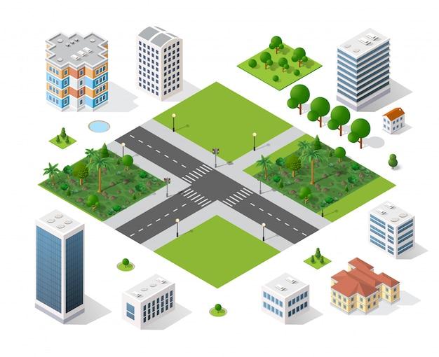 Ciudad moderna 3d isométrica
