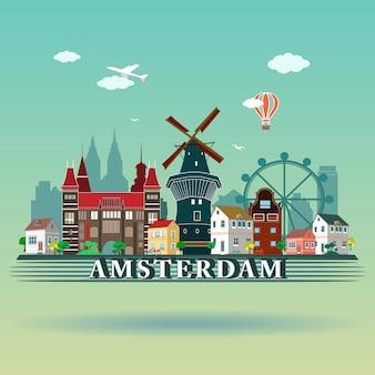 Ciudad moderna de amsterdam skyline design. países bajos