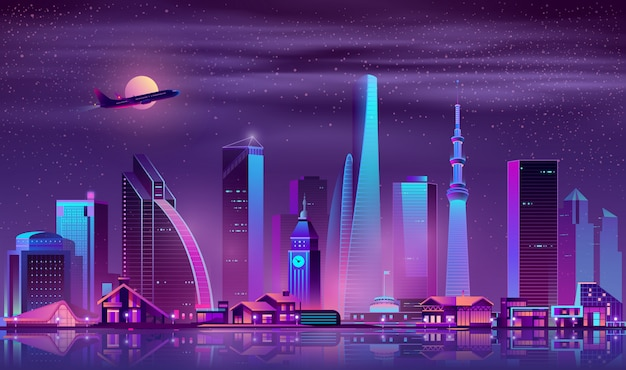 Ciudad moderna en el fondo de vector de dibujos animados de noche