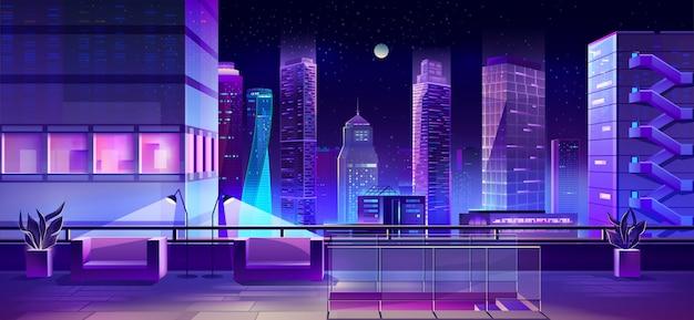 Ciudad moderna megapolis en la noche, vista del paisaje urbano
