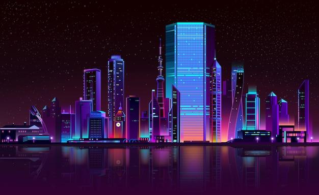 Ciudad moderna noche horizonte neón dibujos animados