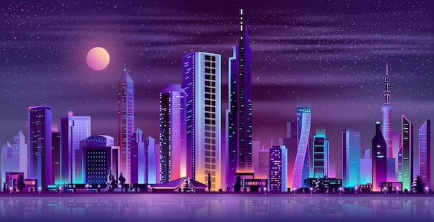 Ciudad moderna noche paisaje neón dibujos animados