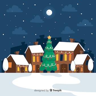 Ciudad de navidad estilo dibujado a mano