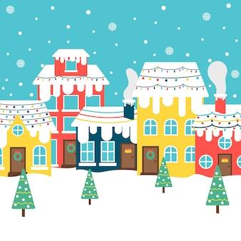 Ciudad de navidad de fondo de diseño plano
