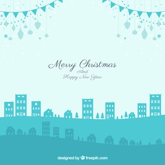Ciudad de navidad en tonos azules