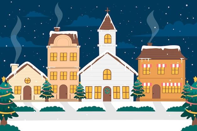 Ciudad navideña dibujada en la noche