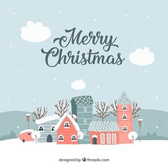 Ciudad navideña vintage en tonos grises con edificios rojos