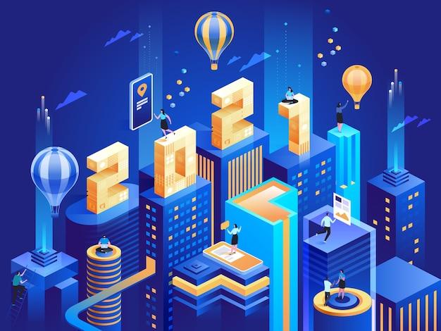 Ciudad de negocios futurista en vista isométrica con números. feliz año nuevo concepto de negocio. resumen rascacielos modernos, paisaje urbano, empleados trabajan en el centro. ilustración de personaje