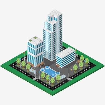 Ciudad de negocios megalópolis isométrica