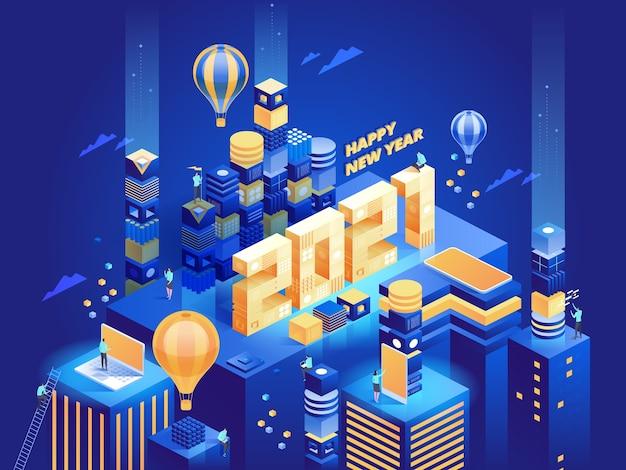 Ciudad de negocios moderna abstracta futurista en vista isométrica. las personas trabajan de forma remota o en la oficina, logran el éxito en sus carreras. plantilla de ilustración de personaje