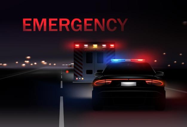 Ciudad de noche con coches de policía y ambulancia con sirenas en la carretera. ilustración realista