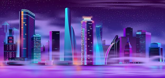Ciudad de noche en fondo urbano de niebla