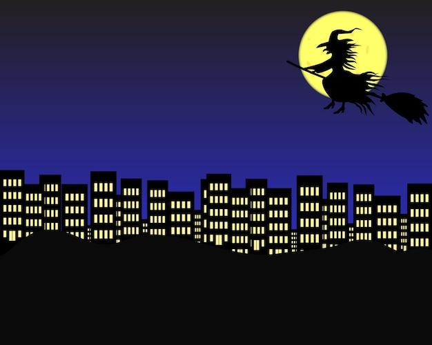 Ciudad de la noche en halloween.