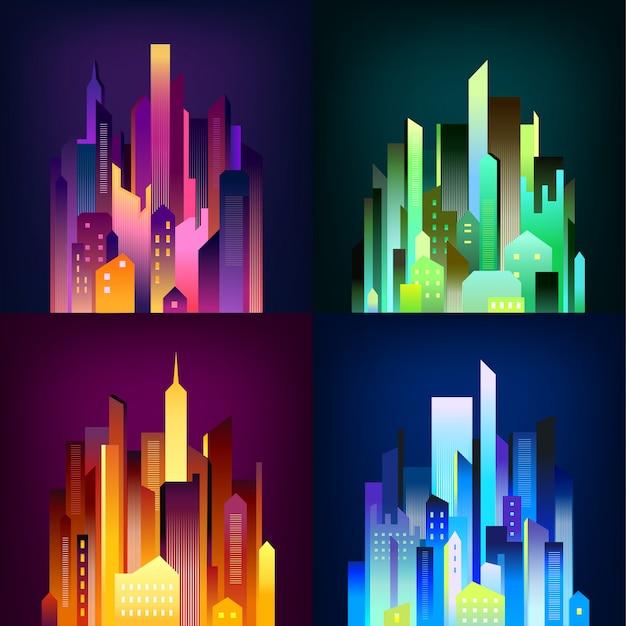 Ciudad de noche iluminada 4 iconos cartel