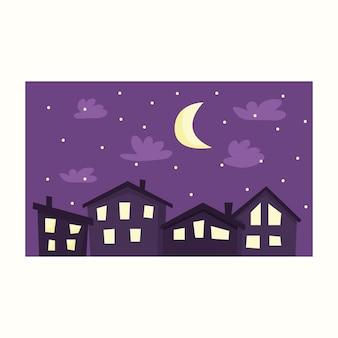 Ciudad de noche. ilustración de vector de estilo plano