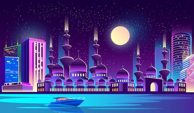 Ciudad de noche con mezquita musulmana, rascacielos.