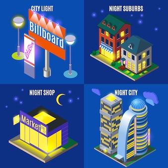 Ciudad de noche con pancartas de elementos de infraestructura urbana