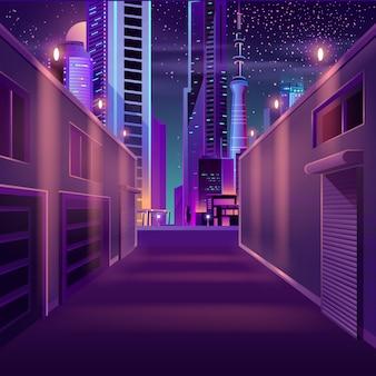 Ciudad de noche vacía lado calle dibujos animados