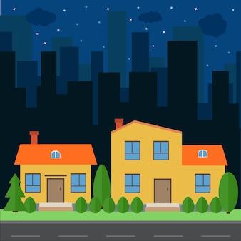 Ciudad de la noche de vector con dibujos animados de casas y edificios. espacio de la ciudad con carretera en concepto de fondo de estilo plano. paisaje urbano de verano. vista de la calle con paisaje urbano sobre un fondo