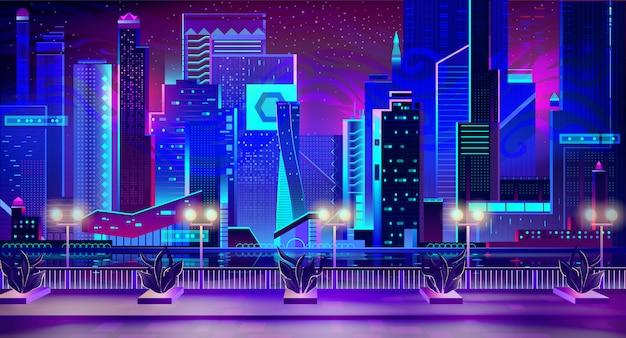 Ciudad nocturna con luces de neón y muelle con plantas.