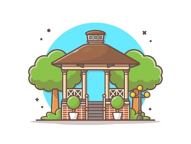 Ciudad parque gazebo vector icono ilustración