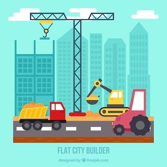 Ciudad plana en construcción con grúa