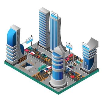 Ciudad de la plantilla isométrica del futuro