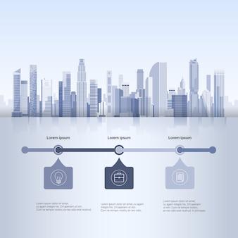 Ciudad rascacielos vista paisaje urbano fondo horizonte silueta con copia espacio infografía