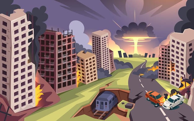 Ciudad en ruinas por la explosión de una bomba nuclear, la guerra, edificios destruidos y dibujos animados de coches en llamas