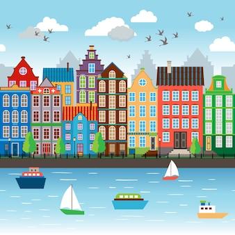 Ciudad sobre río. terraplén cerca del hermoso conjunto arquitectónico. ilustración vectorial