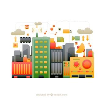 Ciudad tecnológica a color