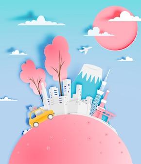 Ciudad de tokio japón en primavera con ilustración de vector de estilo de arte de papel