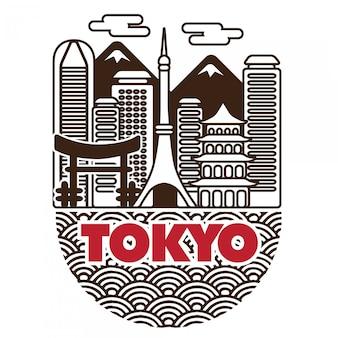Ciudad de tokio japón vector paisaje