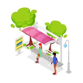 Ciudad de transporte público parada isométrica 3d