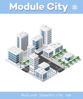 Ciudad tridimensional ciudad de invierno.
