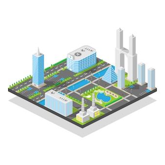 Ciudad tridimensional moderna isométrica, calles de oficinas de rascacielos con tráfico urbano y árboles en el parque natural, ilustración