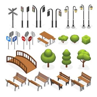 Ciudad urbana calle objetos vectoriales isométricos en miniatura