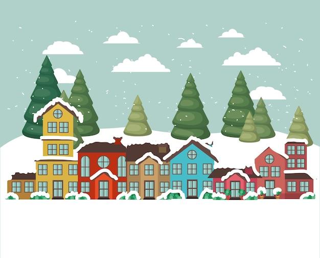 Ciudad urbana en escena de nieve
