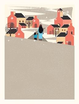 Ciudad urbana en invierno, madre e hijo se toman de las manos y caminan por la calle