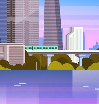 Ciudad urbana moderna del panorama con los rascacielos y la ilustración del paisaje urbano del subterráneo