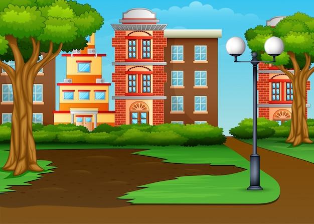 La ciudad urbana panorámica con un parque verde.
