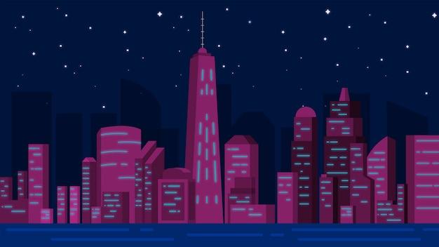 Ciudad en el vector de ilustración de fondo nocturno