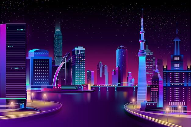 Ciudad del vector, megapolis en el río en la noche.