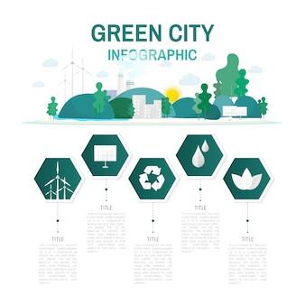 Ciudad verde infografía vector de conservación ambiental