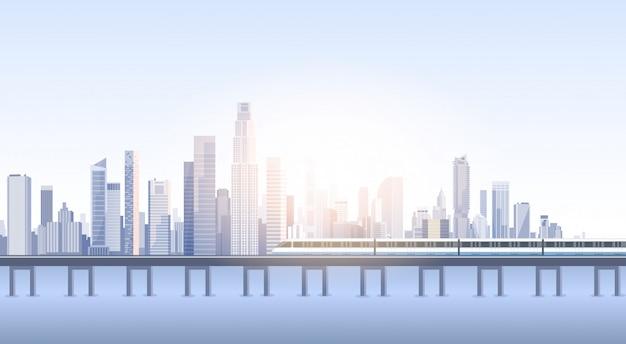 Ciudad vista de rascacielos fondo de paisaje urbano skyline tren silueta con copia espacio