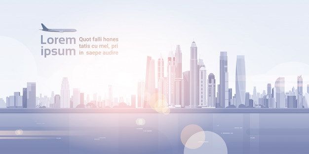 Ciudad vista de rascacielos vista de fondo de paisaje urbano silueta de horizonte con espacio de copia