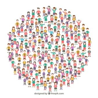 Ciudadanos felices formando un círculo